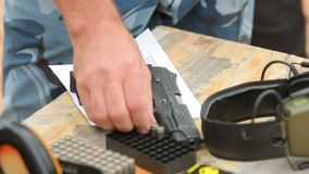 Training shooting from a gun at the site. Training pistol shooting at the site in the summer collectors special forces soldiers bandits stock video footage