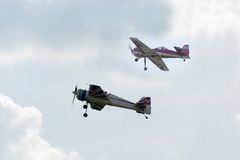 Training planes. Against the sky Stock Image