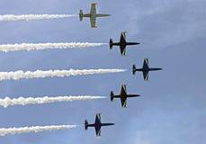 Training planes L-39. Aerobatic group at L-39 planes. International aerospace show MAKS 2011 Stock Photos