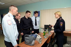 Training of police officers knowledge of modern portable screening equipment. PODOLSK, RUSSIA - MARCH 26, 2015:Training of police officers knowledge of modern Royalty Free Stock Photo