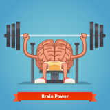 Training powerful and smart mentality. Athletic and fit brain pumping up mind muscles on bench press. Training powerful and smart mentality. Flat vector concept vector illustration