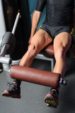 Training Quadriceps. Detail of legs training quadriceps muscles Royalty Free Stock Photos