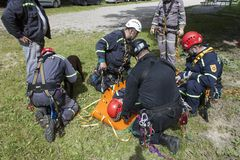Training rescue people buried in the rubble of buildings Stock Images