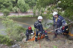 Training rescue people in inaccessible terrain Stock Photography