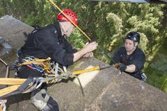 Training rescue people in inaccessible terrain Stock Images