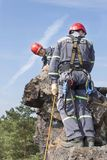 Training rescue team. Rescue in rocky terrain Royalty Free Stock Photography