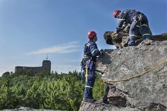 Training rescue team. Rescue in rocky terrain Stock Images