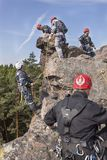 Training rescue team. Rescue in rocky terrain Stock Photography