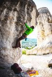 Training rock climbers in nature. Royalty Free Stock Photography