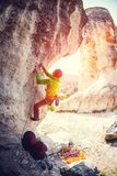 Training rock climbers in nature. Stock Photo