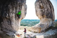 Training rock climbers in nature. Royalty Free Stock Photos