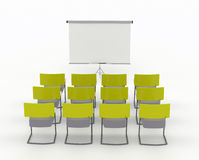 Training room with marker board and chairs. On a white background Stock Photo