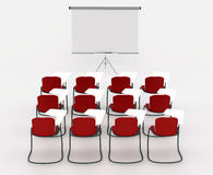 Training room with marker board and chairs. On a white background Stock Images