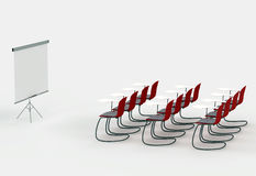 Training room with marker board and chairs. On a white background Stock Image