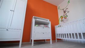Training room for the newborn, cot. Child waiting HD stock video