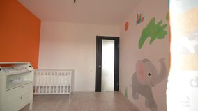 Training room for the newborn, cot stock footage
