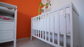 Training room for the newborn, cot stock video footage