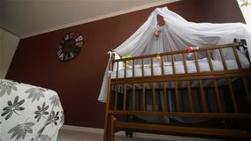 Training room for the newborn, cot. Child waiting HD stock video footage