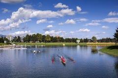 Training rowing on the lake Jarun Stock Photos