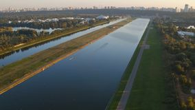 Training in rowing in Moscow. 4K aerial video stock footage
