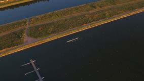 Training in rowing in Moscow. 4K aerial video stock video footage