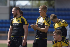 Training of rugby sevens team Royalty Free Stock Image