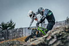 Training run of downhill racers Stock Photos