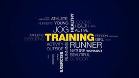 Training runner jog healthy jogger lifestyle fit fitness sport exercise female animated word cloud background in uhd 4k