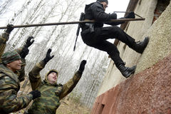 Training of Russian police. Special Forces. SWAT. Stock Photo