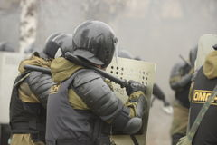 Training of Russian police. Special Forces. SWAT. Stock Image
