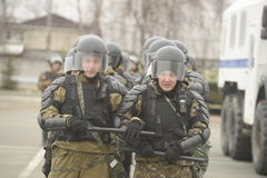 Training of Russian police. Special Forces. SWAT. Royalty Free Stock Images