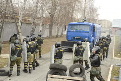 Training of Russian police. Special Forces. SWAT. Stock Photography