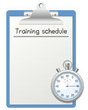 Training Schedule and Stopwatch. Blue clipboard with blank paper for training schedule and a stopwatch, isolated on white background. Eps file available vector illustration