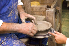 Training sculpting clay. Master sculpting conducts training workshop stock images