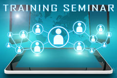 Training Seminar. Text illustration with social icons and tablet computer and mobile cellphones on cyan digital world map background Royalty Free Stock Images