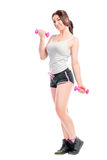 Training session exercises with dumbbells Royalty Free Stock Image