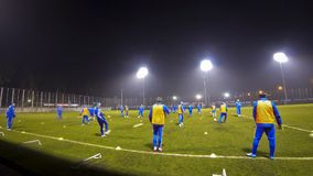 Training session of Ukraine National Football Team. KYIV, UKRAINE - MARCH 3, 2014: Open training session of Ukraine National Football Team at Koncha-Zaspa stock footage