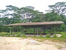 Training shed. Military training shed or sheltered outdoor classroom in Tengah forest, Singapore Royalty Free Stock Image