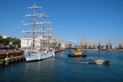 The training ship `Cuauhtemoc` departs from the pier. royalty free stock image