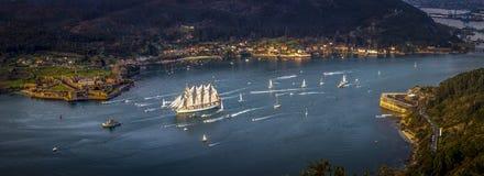 Training Ship Juan Sebastian Elcano departing the Port of Ferrol Galicia Spain stock images