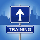 Training Sign Represents Direction Lesson And Webinar Stock Images