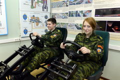 Training on simulator driving in the cadet corps of the police. Royalty Free Stock Images