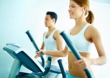 Training on sports equipment Stock Image