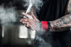 Close up of hands with chalk ready for exercising Royalty Free Stock Photos