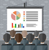 Training staff, meeting, report, business school. Projector screen with financial report. Training staff, meeting, report, business school. vector illustration Royalty Free Stock Photo