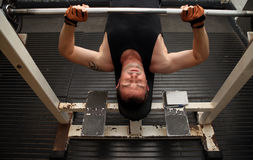Training strength barbell gym stock images