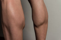Training Strong Legs Calf Close Up. Bodybuilder Doing Heavy Weight Exercise For Legs Calves Close Up Royalty Free Stock Photo