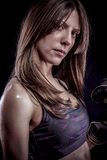 Training, strong woman athlete with boxing gloves Royalty Free Stock Photo