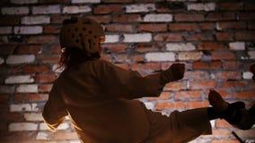 Training studio. Martial arts. Two little girls training their karate skills. Mid shot stock video footage