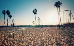 Training at sundown in Venice beach stock photo